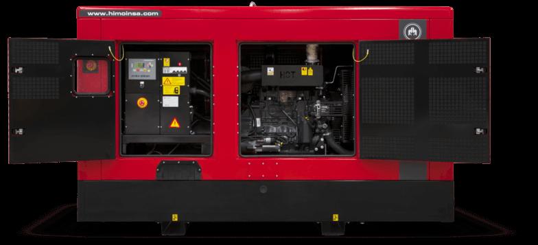 Et rødt kapslet aggregat med 2 åpne dører.